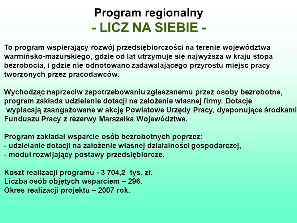 Program regionalny - LICZ NA SIEBIE - To program wspierający rozwój przedsiębiorczości na terenie województwa warmińsko-mazurskiego, gdzie od lat utrz