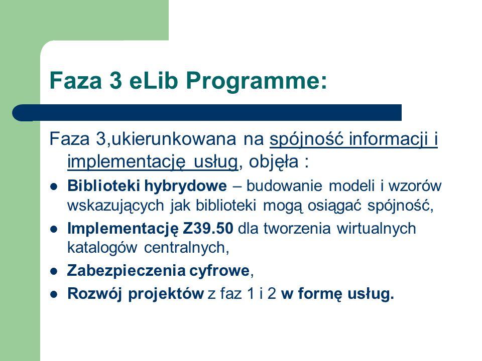 Faza 3 eLib Programme: Faza 3,ukierunkowana na spójność informacji i implementację usług, objęła : Biblioteki hybrydowe – budowanie modeli i wzorów ws