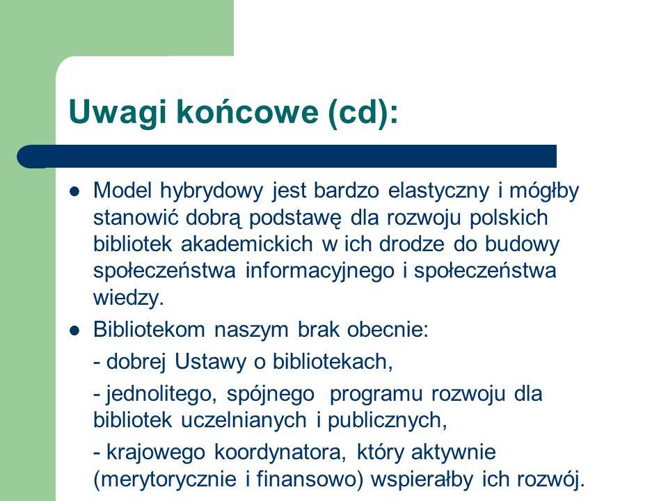 Uwagi końcowe (cd): Model hybrydowy jest bardzo elastyczny i mógłby stanowić dobrą podstawę dla rozwoju polskich bibliotek akademickich w ich drodze d