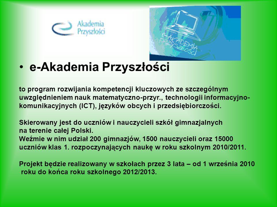 e-Akademia Przyszłości to program rozwijania kompetencji kluczowych ze szczególnym uwzględnieniem nauk matematyczno-przyr., technologii informacyjno- komunikacyjnych (ICT), języków obcych i przedsiębiorczości.