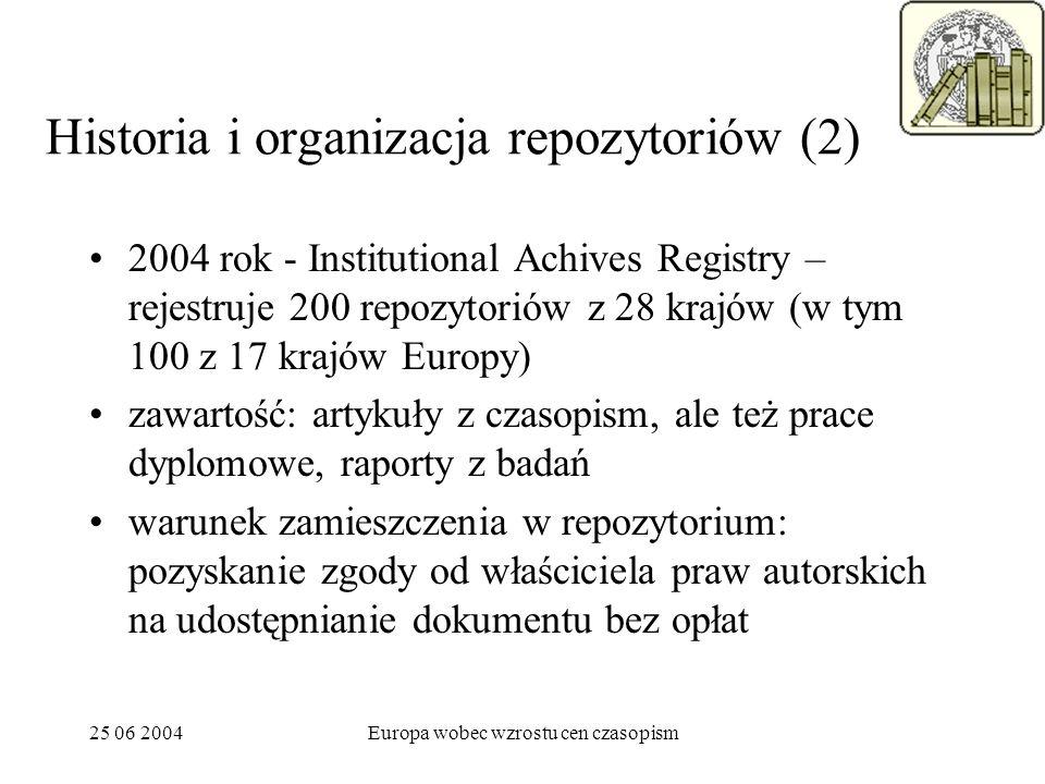 25 06 2004Europa wobec wzrostu cen czasopism Historia i organizacja repozytoriów (2) 2004 rok - Institutional Achives Registry – rejestruje 200 repozy