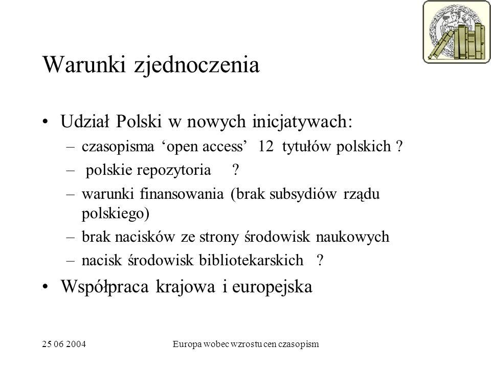 25 06 2004Europa wobec wzrostu cen czasopism Warunki zjednoczenia Udział Polski w nowych inicjatywach: –czasopisma open access 12 tytułów polskich ? –