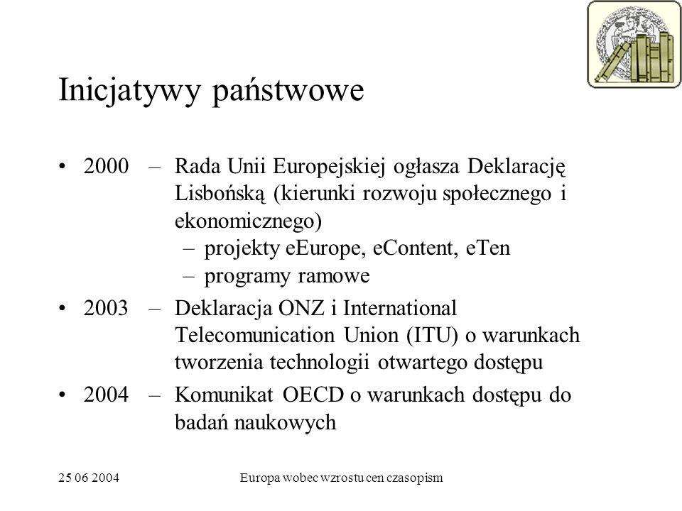 25 06 2004Europa wobec wzrostu cen czasopism Inicjatywy państwowe 2000 2003 2004 –Rada Unii Europejskiej ogłasza Deklarację Lisbońską (kierunki rozwoju społecznego i ekonomicznego) –projekty eEurope, eContent, eTen –programy ramowe –Deklaracja ONZ i International Telecomunication Union (ITU) o warunkach tworzenia technologii otwartego dostępu –Komunikat OECD o warunkach dostępu do badań naukowych