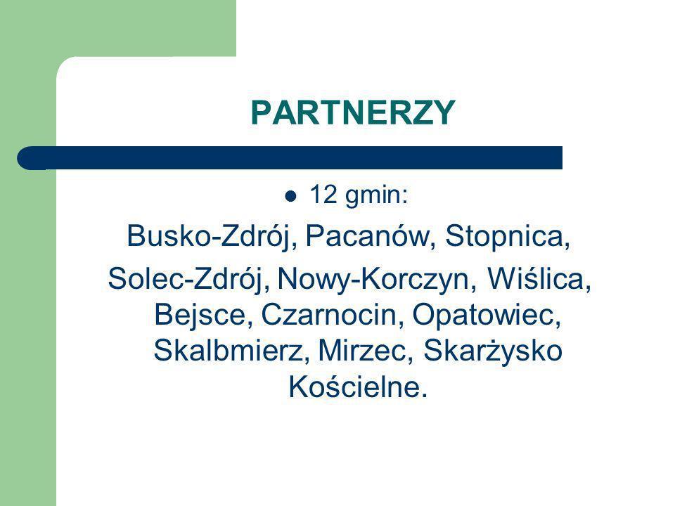 PARTNERZY 12 gmin: Busko-Zdrój, Pacanów, Stopnica, Solec-Zdrój, Nowy-Korczyn, Wiślica, Bejsce, Czarnocin, Opatowiec, Skalbmierz, Mirzec, Skarżysko Koś