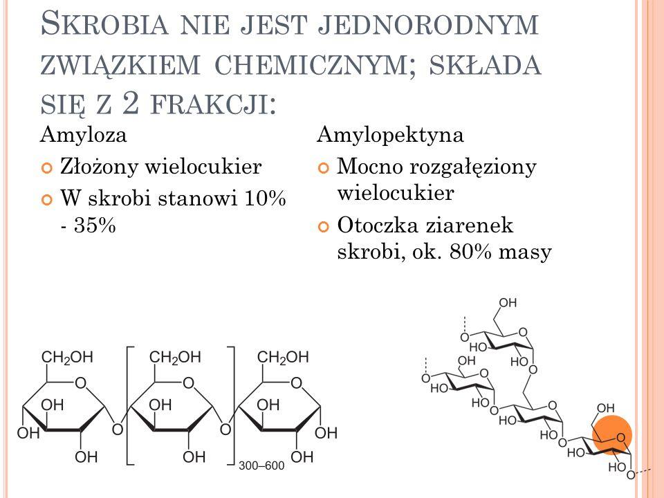 S KROBIA NIE JEST JEDNORODNYM ZWIĄZKIEM CHEMICZNYM ; SKŁADA SIĘ Z 2 FRAKCJI : Amyloza Złożony wielocukier W skrobi stanowi 10% - 35% Amylopektyna Mocno rozgałęziony wielocukier Otoczka ziarenek skrobi, ok.
