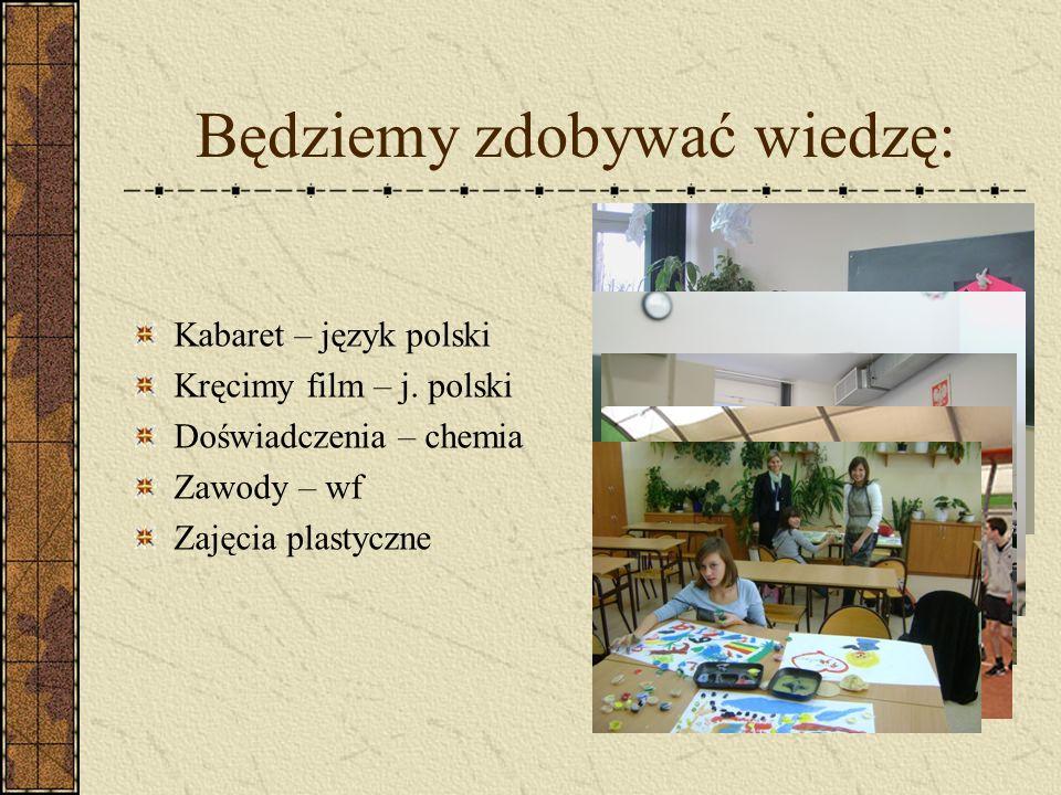Będziemy zdobywać wiedzę: Kabaret – język polski Kręcimy film – j.