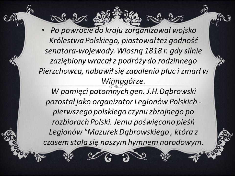 Po powrocie do kraju zorganizował wojsko Królestwa Polskiego, piastował też godność senatora-wojewody.