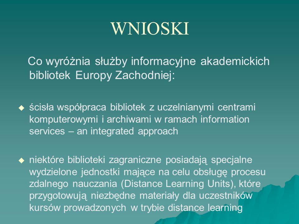 WNIOSKI Co wyróżnia służby informacyjne akademickich bibliotek Europy Zachodniej: ścisła współpraca bibliotek z uczelnianymi centrami komputerowymi i
