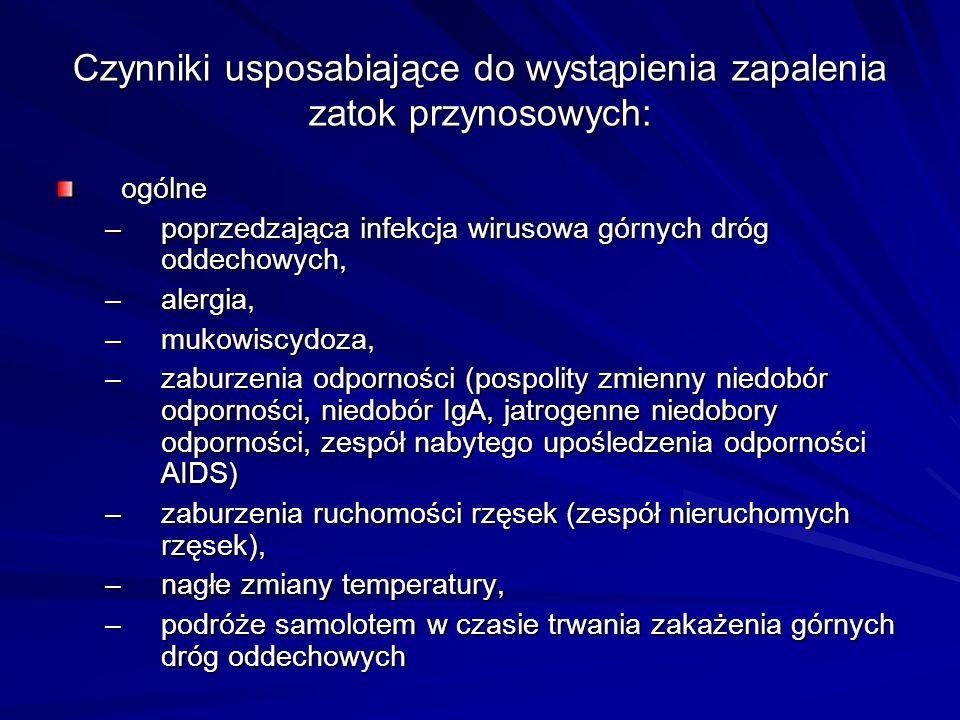 Antybiotykoterapia Leki pierwszego rzutu - amoksycylina (Amotaks, Duomox 0,5-1,0 g co 8 godzin) Leki drugiego rzutu - amoksycylina z kwasem klawulanowym (Amoksiklav, Augmentin, Curam 0,375- 0,625 g co 8 godzin lub 0,625-1,0 g co 12 godzin); cefalosporyny I generacji: cefradyna (Sefril 0,5 g co 6 godzin ) lub II generacji: cefaklor (Ceclor, Vercef 0,25- 0,5 g co 8 godzin), cefuroksym (Bioracef, Zinnat 0,25 co 12 godzin).