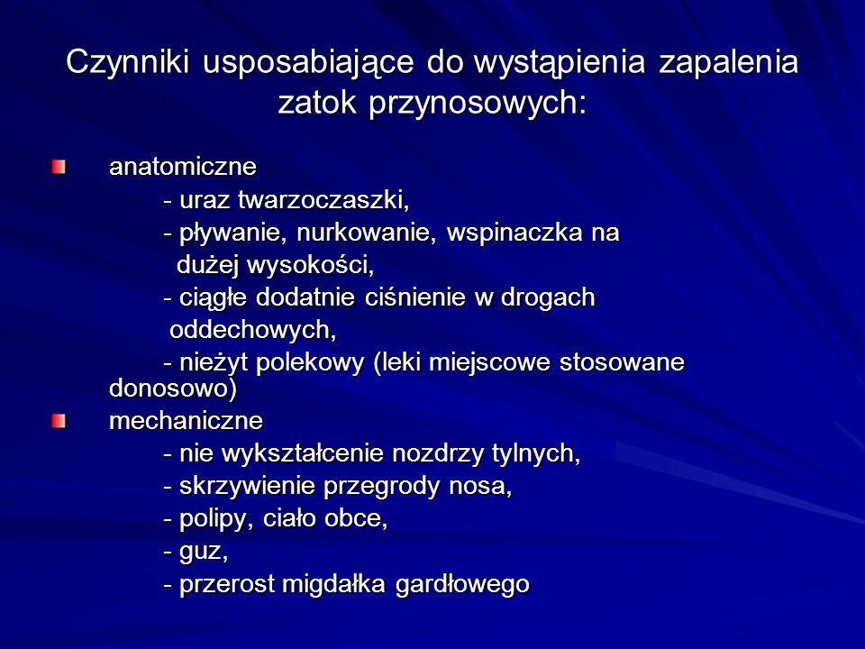 Leczenie uzupełniające Leki obkurczające błonę śluzową - przywracają drożność ujść zatok przynosowych, stosowane miejscowo na błonę śluzową w postaci kropli, żeli, aerozoli, np: oksymetazolina (Afrin, Nasivin, Oxalin), ksylometazolina (Otrivin, Xylogel, Xylometazolin) lub ogólnie doustnie, np: pseudoefedryna (Cirrus, Disophrol).