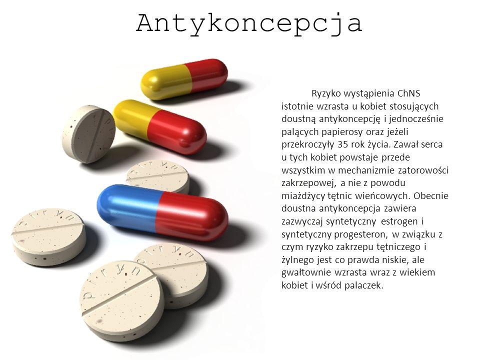 Antykoncepcja Ryzyko wystąpienia ChNS istotnie wzrasta u kobiet stosujących doustną antykoncepcję i jednocześnie palących papierosy oraz jeżeli przekr