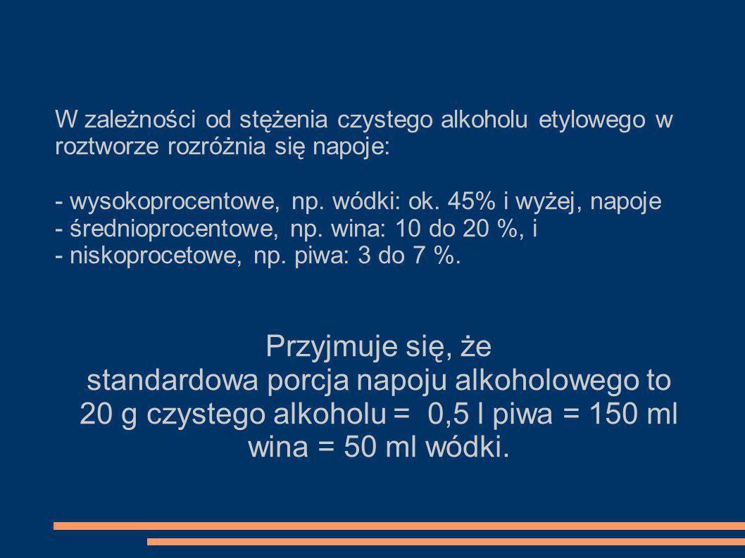 W zależności od stężenia czystego alkoholu etylowego w roztworze rozróżnia się napoje: - wysokoprocentowe, np. wódki: ok. 45% i wyżej, napoje - średni
