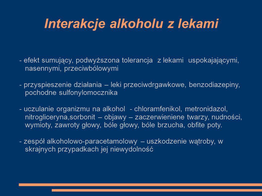 Interakcje alkoholu z lekami - efekt sumujący, podwyższona tolerancja z lekami uspokajającymi, nasennymi, przeciwbólowymi - przyspieszenie działania –