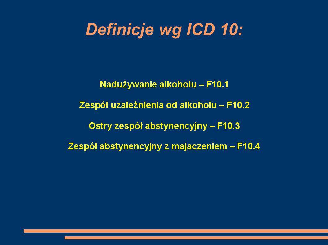 Definicje wg ICD 10: