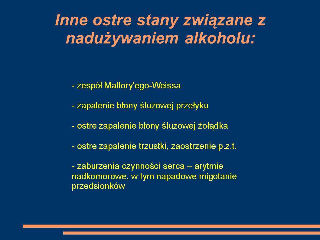 Inne ostre stany związane z nadużywaniem alkoholu: