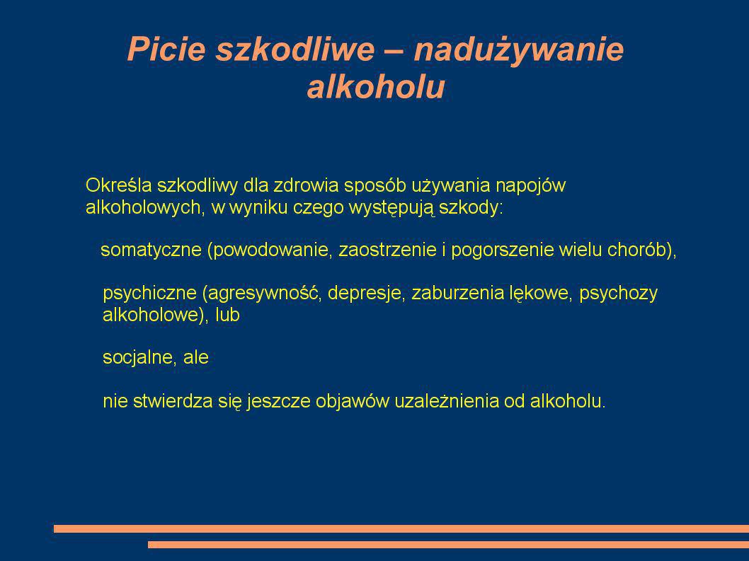 Interakcje alkoholu z lekami - efekt sumujący, podwyższona tolerancja z lekami uspokajającymi, nasennymi, przeciwbólowymi - przyspieszenie działania – leki przeciwdrgawkowe, benzodiazepiny, pochodne sulfonylomocznika - uczulanie organizmu na alkohol - chloramfenikol, metronidazol, nitrogliceryna,sorbonit – objawy – zaczerwieniene twarzy, nudności, wymioty, zawroty głowy, bóle głowy, bóle brzucha, obfite poty.
