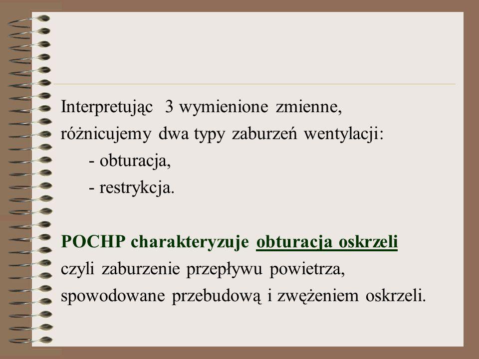 Interpretując 3 wymienione zmienne, różnicujemy dwa typy zaburzeń wentylacji: - obturacja, - restrykcja.