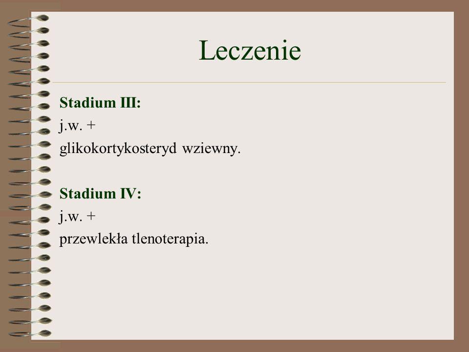 Leczenie Stadium III: j.w.+ glikokortykosteryd wziewny.