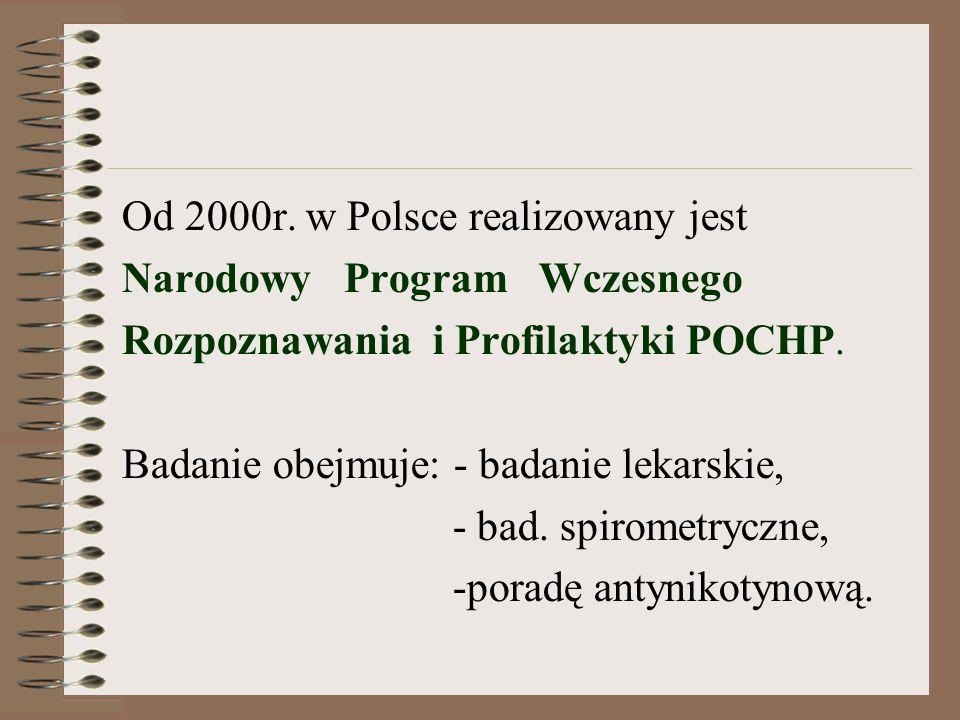 Od 2000r. w Polsce realizowany jest Narodowy Program Wczesnego Rozpoznawania i Profilaktyki POCHP.