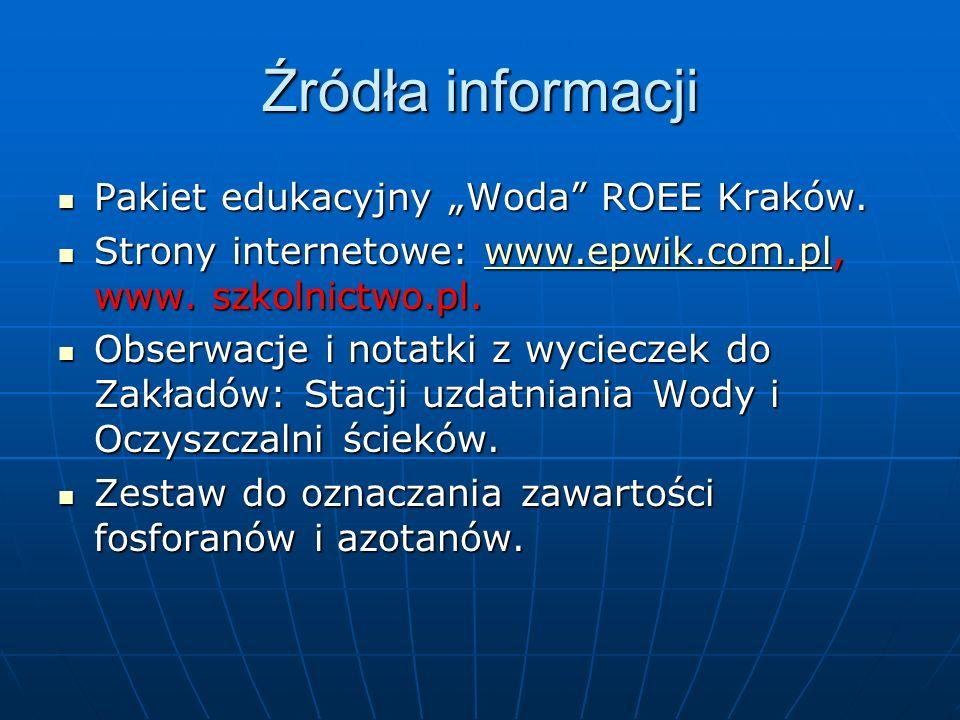 Źródła informacji Pakiet edukacyjny Woda ROEE Kraków.