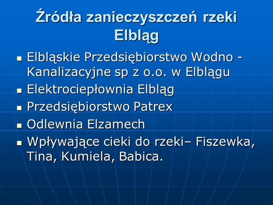Źródła zanieczyszczeń rzeki Elbląg Elbląskie Przedsiębiorstwo Wodno - Kanalizacyjne sp z o.o.