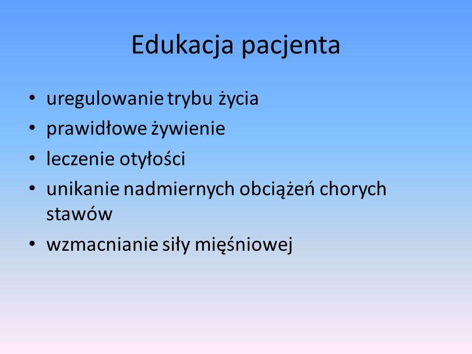 Suplementy diety olej rybi siarczan glukozaminy 1500 mg/d siarczan chondroityny 2000 mg/d oleje avocado i soi (piascledine) (zmniejszają zapotrzebowanie na leki przeciwbólowe)