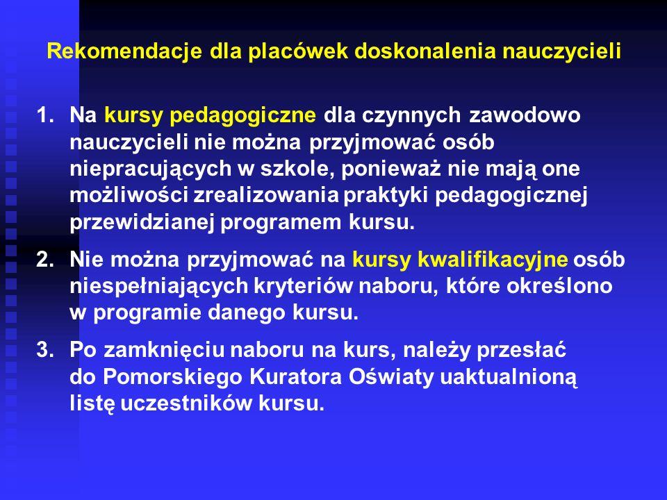 Rekomendacje dla placówek doskonalenia nauczycieli 1.Na kursy pedagogiczne dla czynnych zawodowo nauczycieli nie można przyjmować osób niepracujących