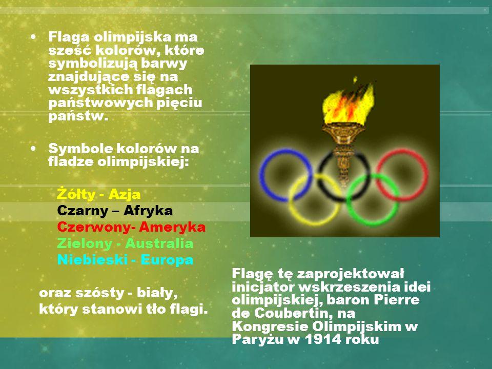 Flaga olimpijska ma sześć kolorów, które symbolizują barwy znajdujące się na wszystkich flagach państwowych pięciu państw. Symbole kolorów na fladze o
