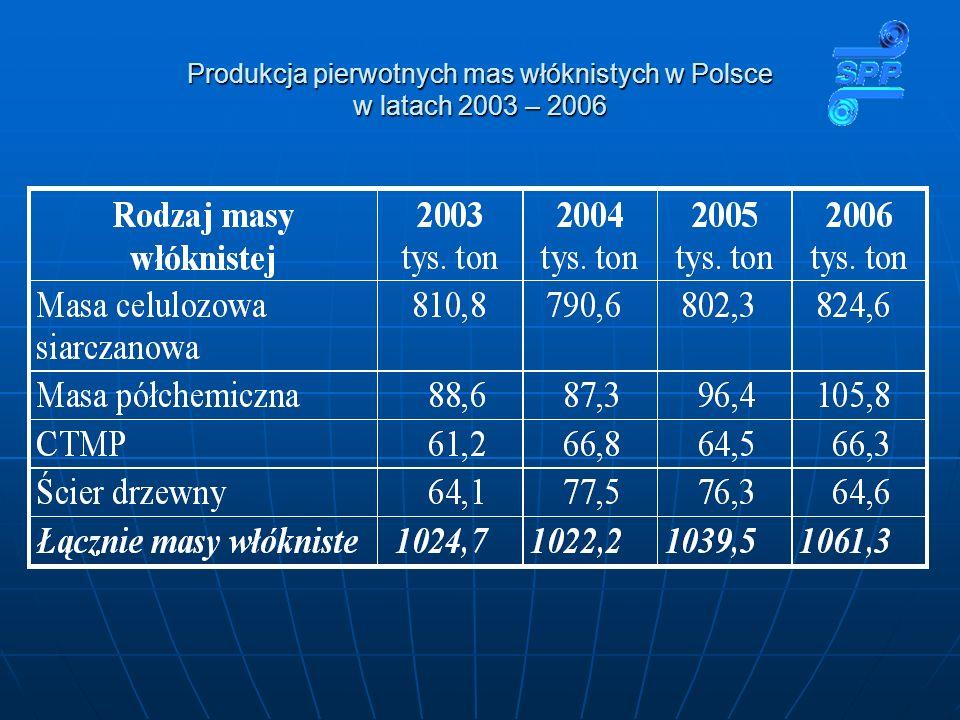 Produkcja pierwotnych mas włóknistych w Polsce w latach 2003 – 2006