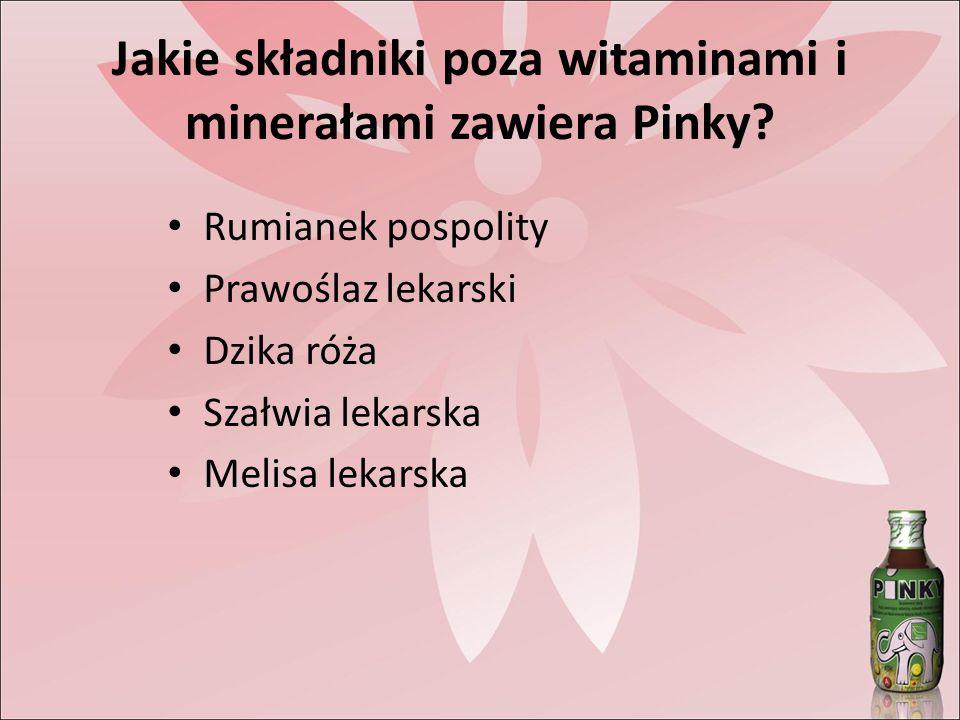 Jakie składniki poza witaminami i minerałami zawiera Pinky.