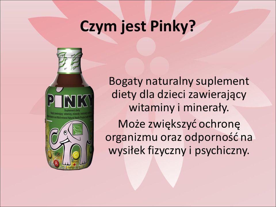 Czym jest Pinky. Bogaty naturalny suplement diety dla dzieci zawierający witaminy i minerały.