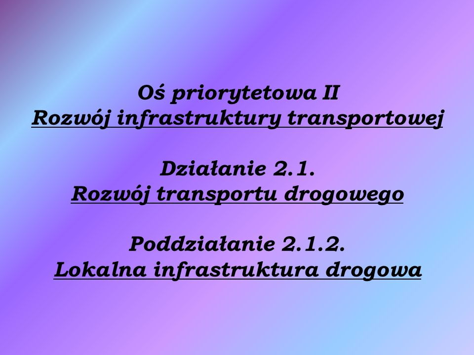Oś priorytetowa II Rozwój infrastruktury transportowej Działanie 2.1.