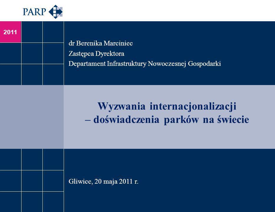 2011 Wyzwania internacjonalizacji – doświadczenia parków na świecie dr Berenika Marciniec Zastępca Dyrektora Departament Infrastruktury Nowoczesnej Go