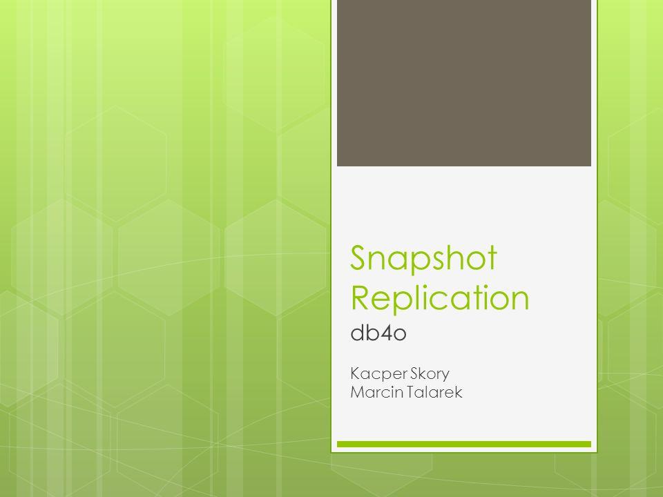 Replikacja w jedna stronę z ograniczeniem co do klasy Db4oEmbeddedReplicationProvider providerA = new Db4oEmbeddedReplicationProvider(sourceDatabase); Db4oEmbeddedReplicationProvider providerB = new Db4oEmbeddedReplicationProvider(destinationDatabase); ReplicationSession replicationSession = Replication.begin(providerA, providerB); replicationSession.setDirection(replicationSession.providerA(), replicationSession.providerB()); ObjectSet changes = replicationSession.providerA().objectsChangedSinceLastReplication(clazz); //Car.class for (Object changedObject : changes) { // tutaj mogą znalesc sie dodatkowe warunki (np if // (((Person)changedObject).getName().equals( Kowalski))...