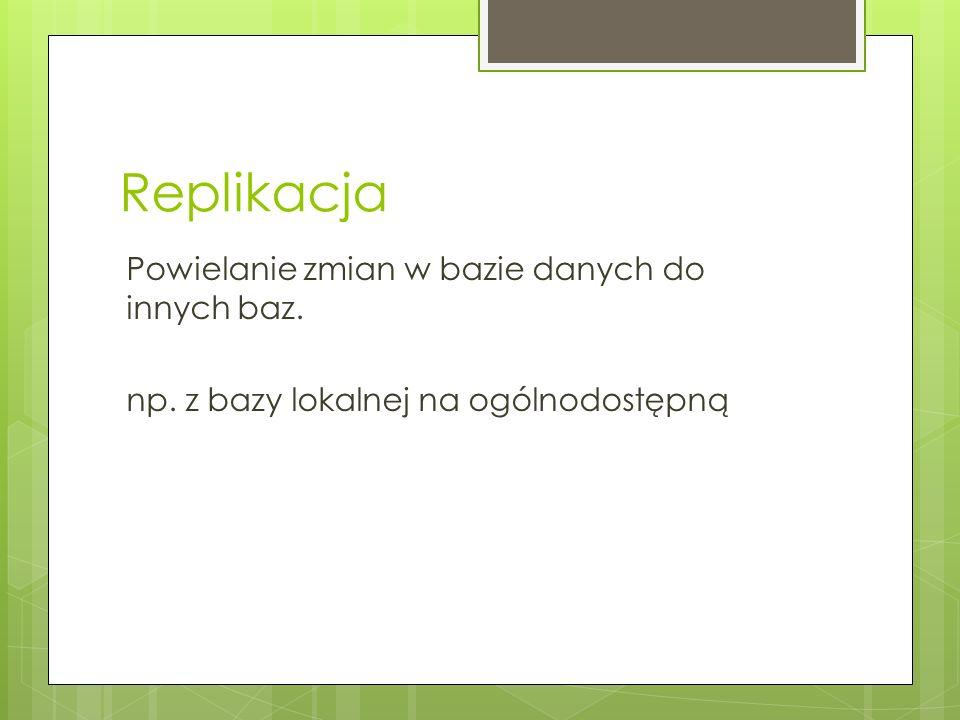 Replikacja usunięć 1.Tworzenie sesji replikacji dla baz biorących udział w replikacji 2.