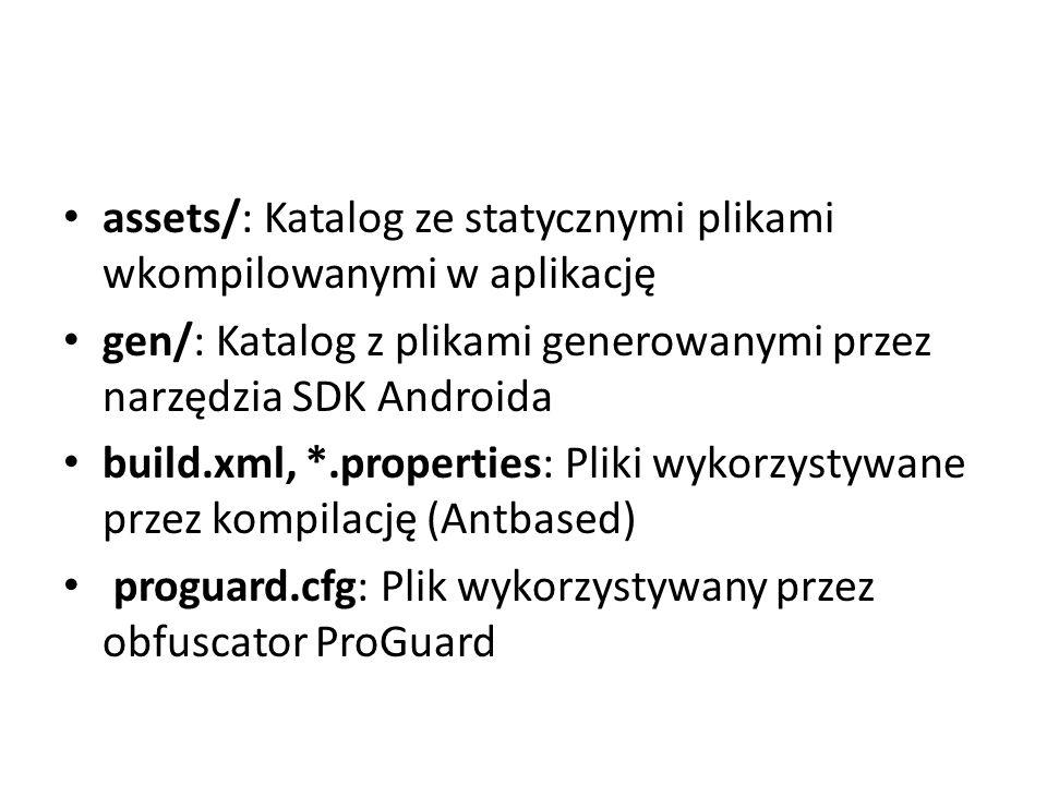 assets/: Katalog ze statycznymi plikami wkompilowanymi w aplikację gen/: Katalog z plikami generowanymi przez narzędzia SDK Androida build.xml, *.prop