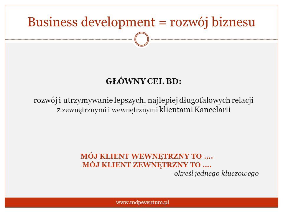 Business development = rozwój biznesu www.mdpeventum.pl GŁÓWNY CEL BD: rozwój i utrzymywanie lepszych, najlepiej długofalowych relacji z zewnętrznymi
