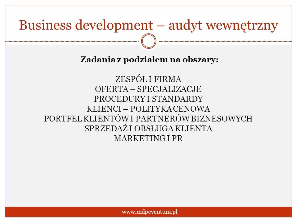 Business development – audyt wewnętrzny www.mdpeventum.pl Zadania z podziałem na obszary: ZESPÓŁ I FIRMA OFERTA – SPECJALIZACJE PROCEDURY I STANDARDY