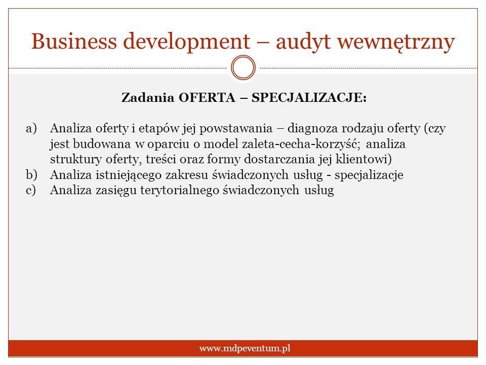 Business development – audyt wewnętrzny www.mdpeventum.pl Zadania OFERTA – SPECJALIZACJE: a)Analiza oferty i etapów jej powstawania – diagnoza rodzaju