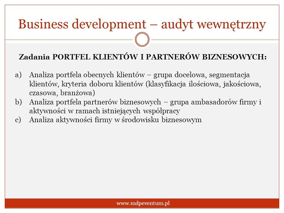 Business development – audyt wewnętrzny www.mdpeventum.pl Zadania PORTFEL KLIENTÓW I PARTNERÓW BIZNESOWYCH: a)Analiza portfela obecnych klientów – gru