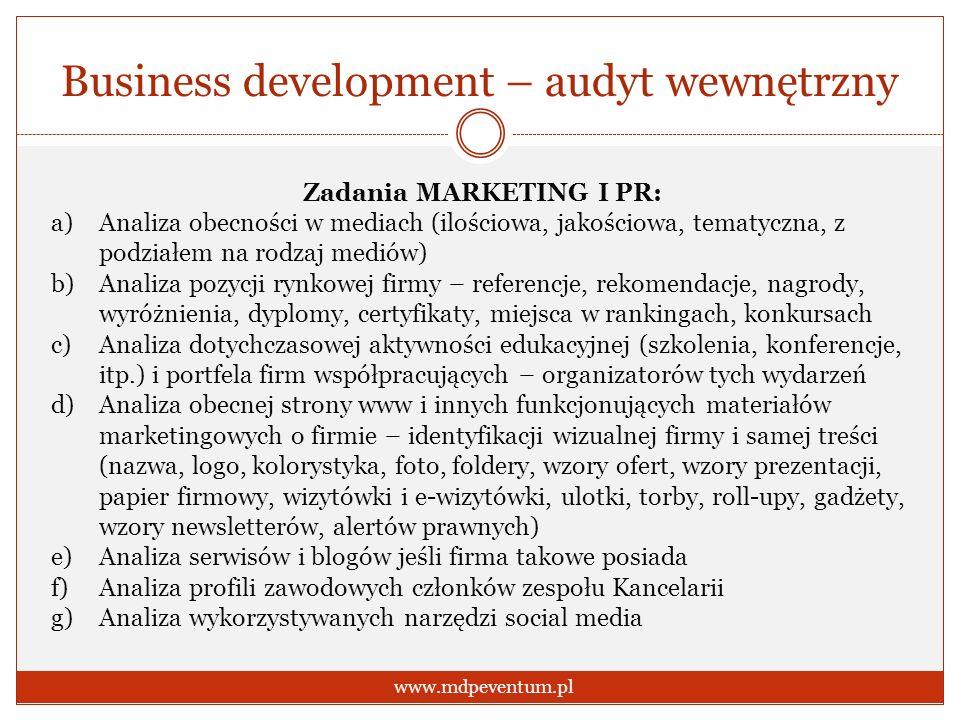 Business development – audyt wewnętrzny www.mdpeventum.pl Zadania MARKETING I PR: a)Analiza obecności w mediach (ilościowa, jakościowa, tematyczna, z