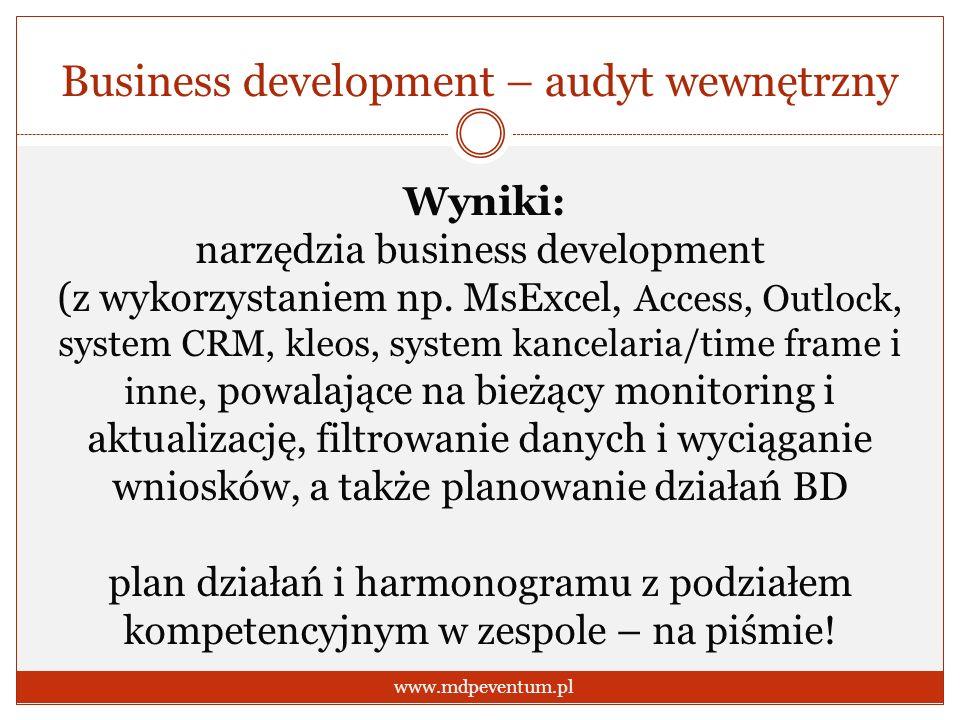 Business development – audyt wewnętrzny www.mdpeventum.pl Wyniki: narzędzia business development (z wykorzystaniem np. MsExcel, Access, Outlock, syste