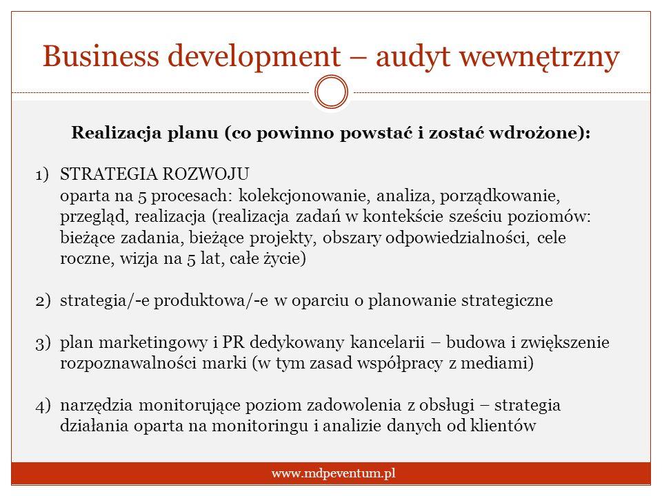 Business development – audyt wewnętrzny www.mdpeventum.pl Realizacja planu (co powinno powstać i zostać wdrożone): 1)STRATEGIA ROZWOJU oparta na 5 pro