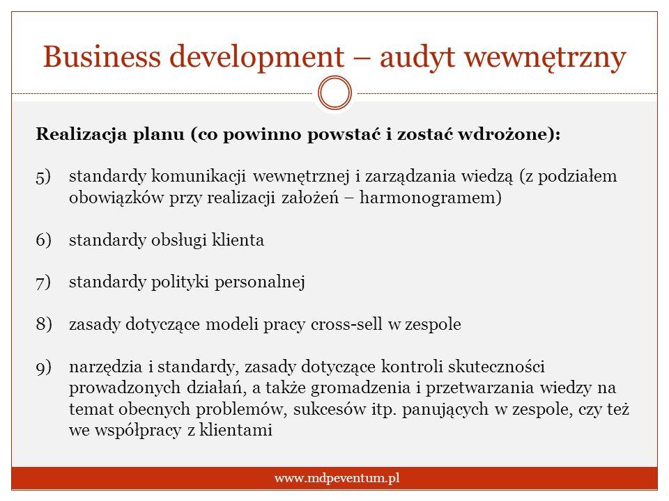 Business development – audyt wewnętrzny www.mdpeventum.pl Realizacja planu (co powinno powstać i zostać wdrożone): 5)standardy komunikacji wewnętrznej