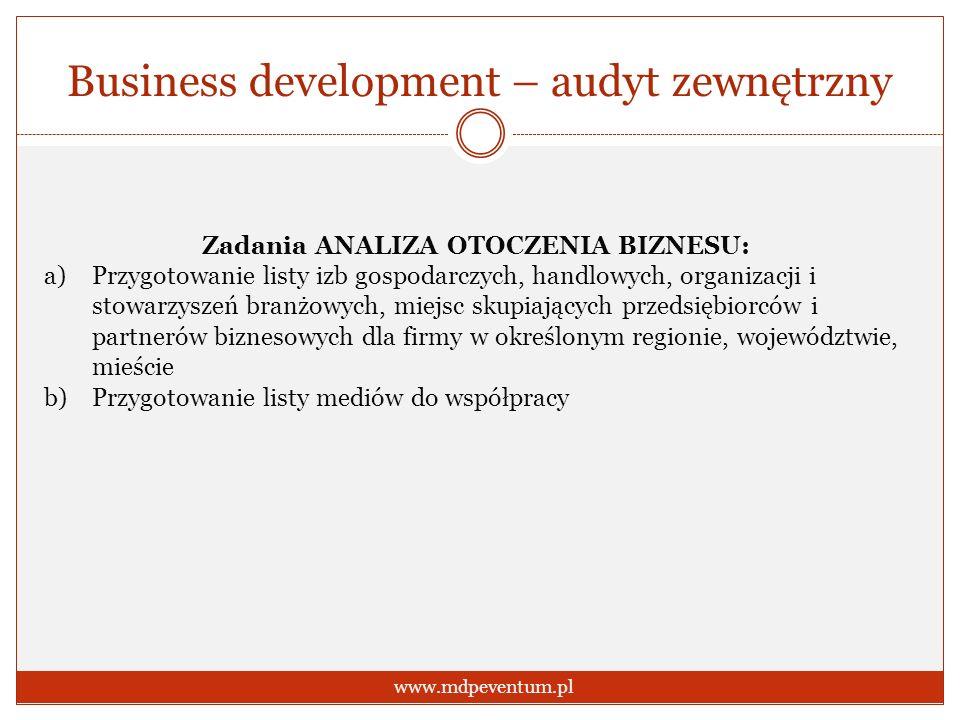 Business development – audyt zewnętrzny www.mdpeventum.pl Zadania ANALIZA OTOCZENIA BIZNESU: a)Przygotowanie listy izb gospodarczych, handlowych, orga