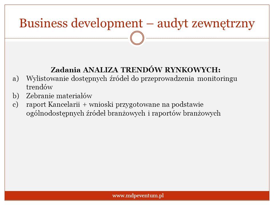 Business development – audyt zewnętrzny www.mdpeventum.pl Zadania ANALIZA TRENDÓW RYNKOWYCH: a)Wylistowanie dostępnych źródeł do przeprowadzenia monit