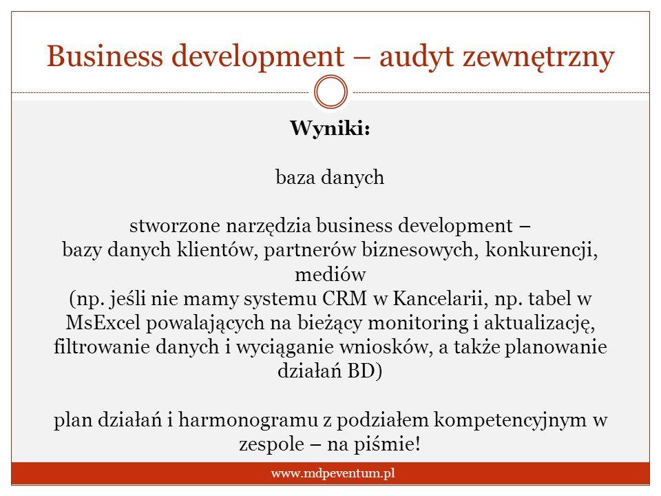 Business development – audyt zewnętrzny www.mdpeventum.pl Wyniki: baza danych stworzone narzędzia business development – bazy danych klientów, partner