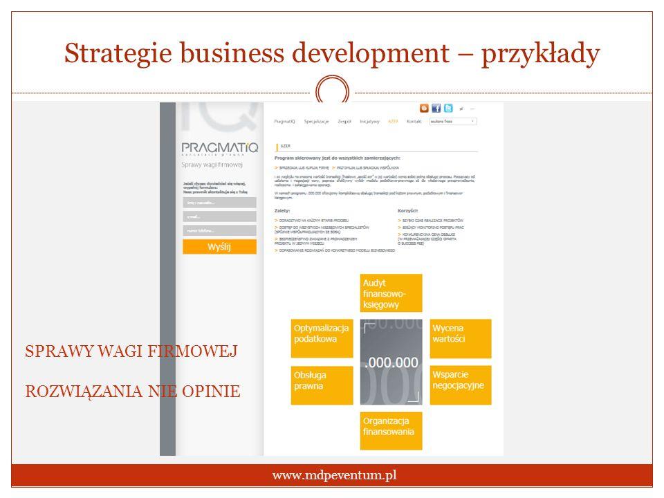 Strategie business development – przykłady www.mdpeventum.pl SPRAWY WAGI FIRMOWEJ ROZWIĄZANIA NIE OPINIE