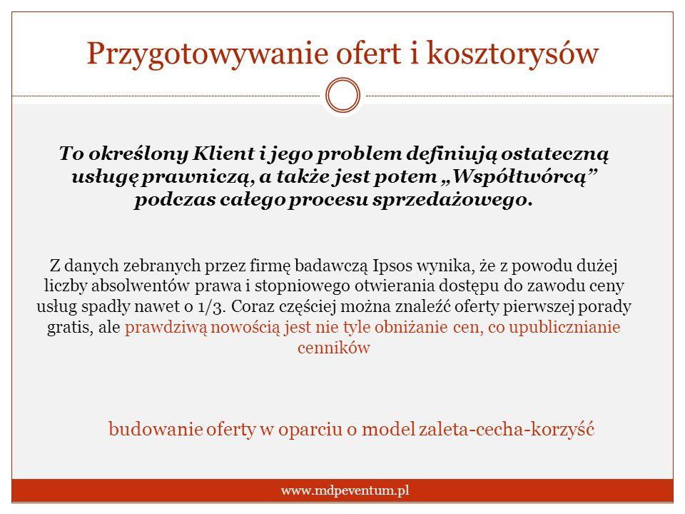 Przygotowywanie ofert i kosztorysów www.mdpeventum.pl To określony Klient i jego problem definiują ostateczną usługę prawniczą, a także jest potem Wsp