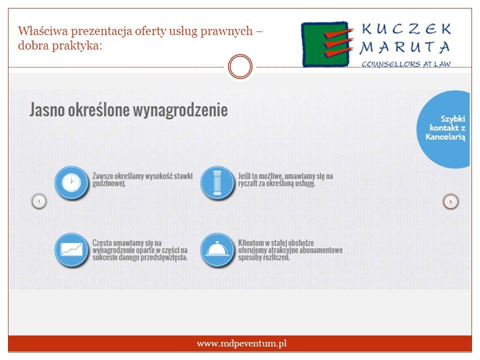 Właściwa prezentacja oferty usług prawnych – dobra praktyka: www.mdpeventum.pl